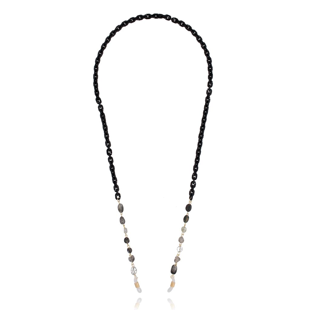 Łańcuszek do okularów z kwarcami czarny NPA0115