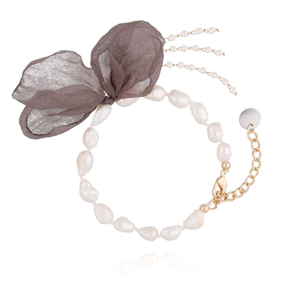 Bransoletka z perłami i z brązowym kwiatem  BBL0065