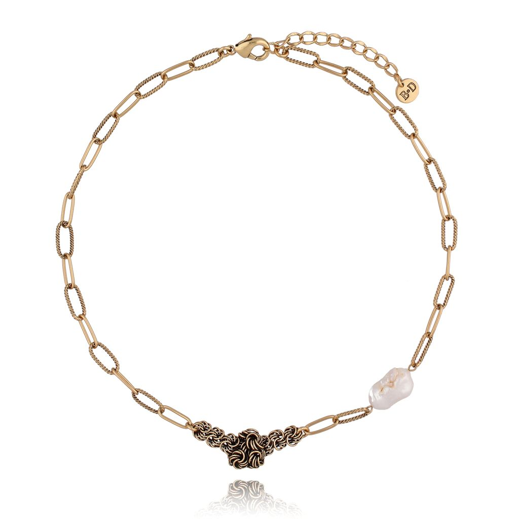 Naszyjnik z pereł z łańcuszkiem antyczne złoto NPE0043