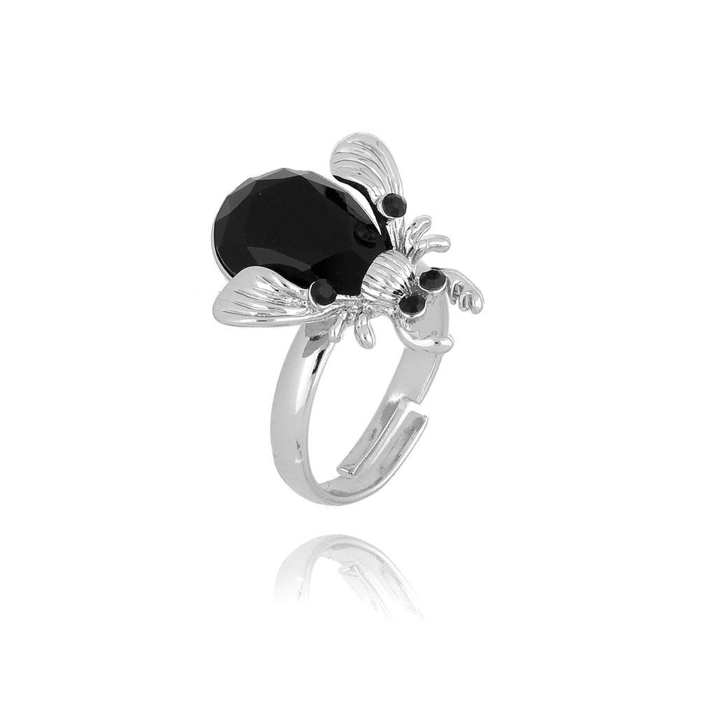 Pierścionek żuk z czarnym kryształkiem PMI0081