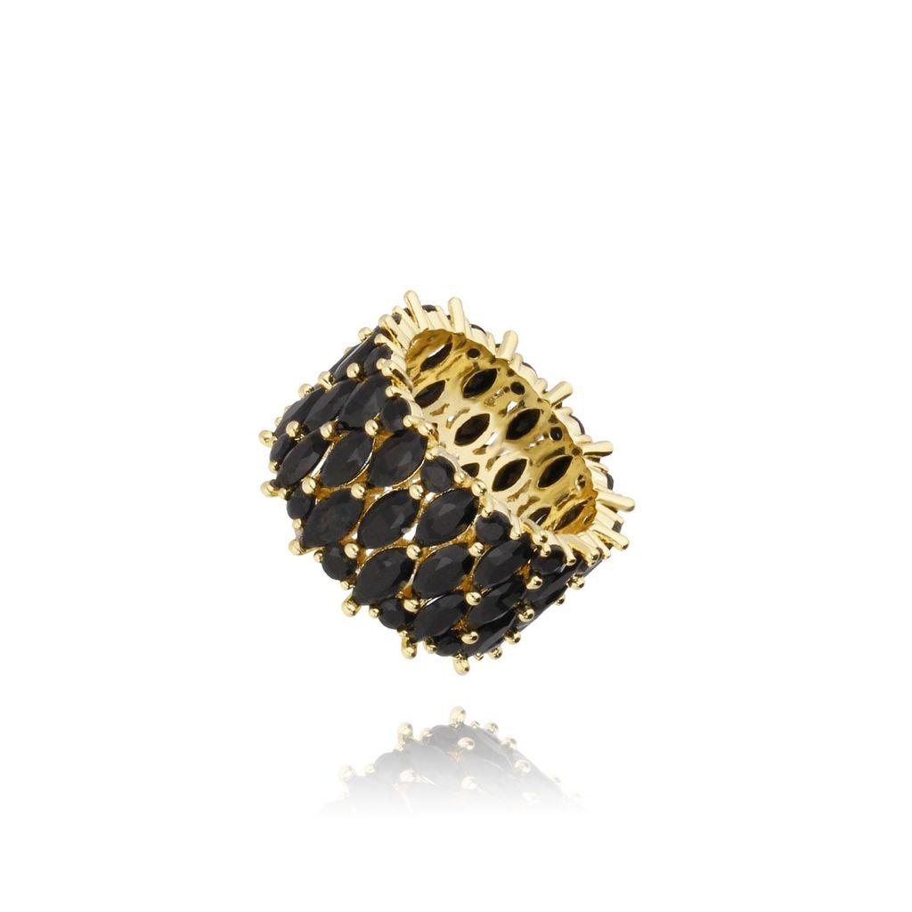 Pierścionek złoty z czarnymi kryształkami PRG0123 rozmiar 12