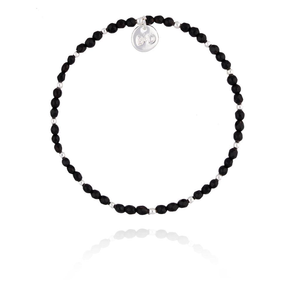 Bransoletka czarna z onyxu fasetowanego BTW0198