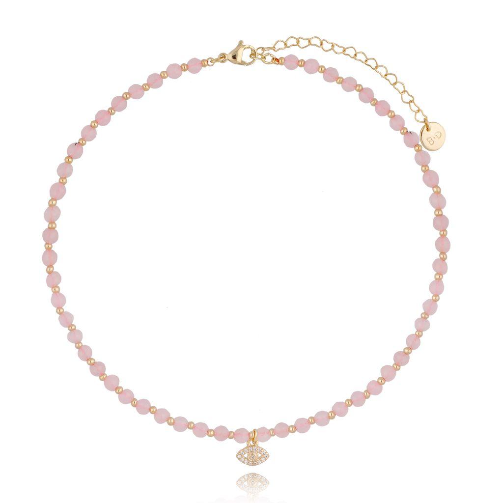 Naszyjnik z kwarcem różowym NTW0155