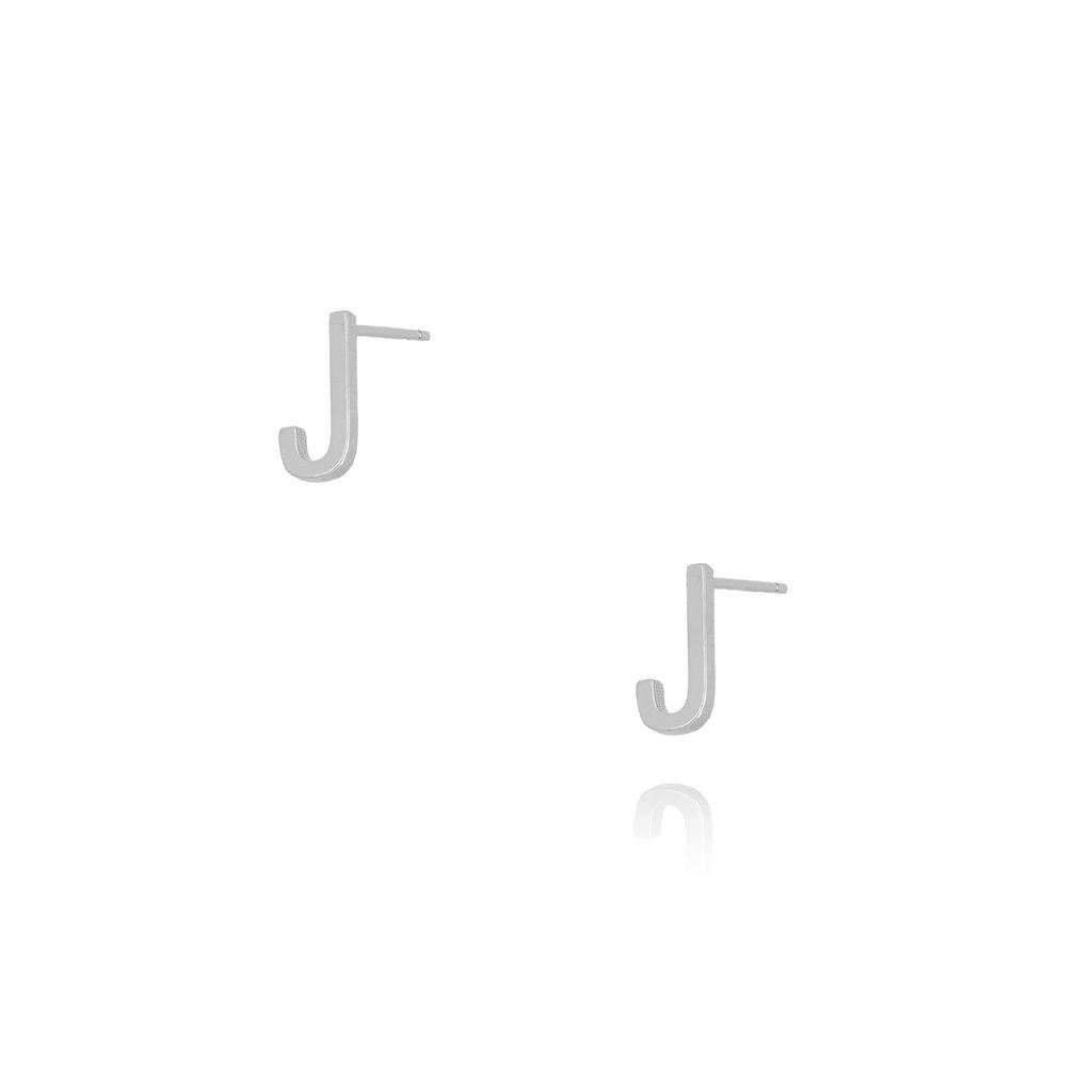 Kolczyki wkrętki z literką J srebrne KAT0012
