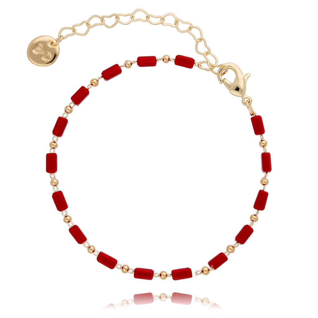 Bransoletka z  czerwonych kryształków  BOA0005