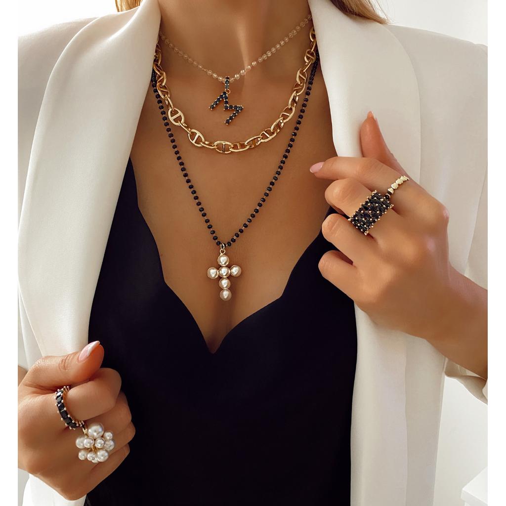 Naszyjnik z krzyżem z perłami NRG0193