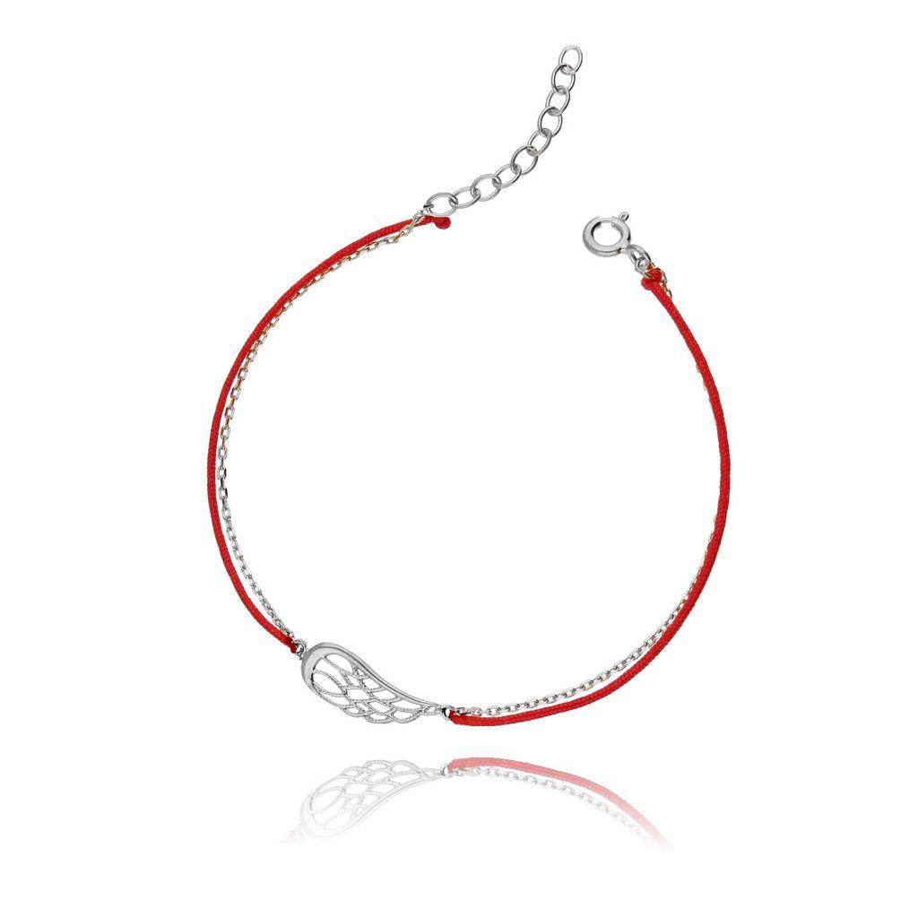 Bransoletka srebrna na czerwonym sznurku - skrzydło BSE0047