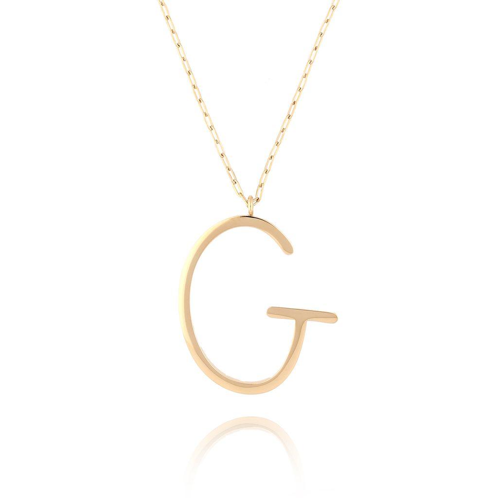 Naszyjnik ze stali szlachetnej złoty literka G Alphabet NAT0021