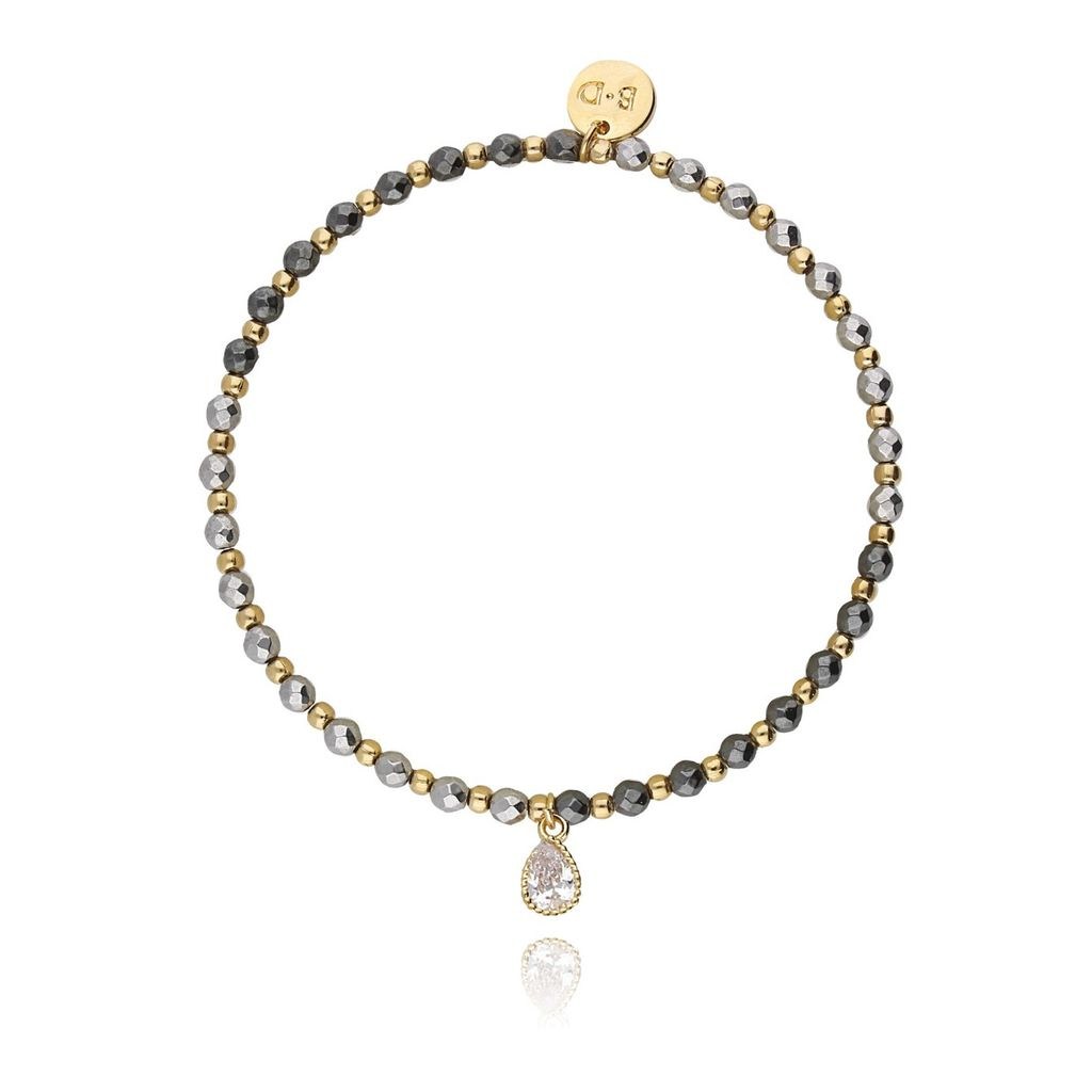 Bransoletka z hematytem w dwóch kolorach i kryształkiem BTW0079