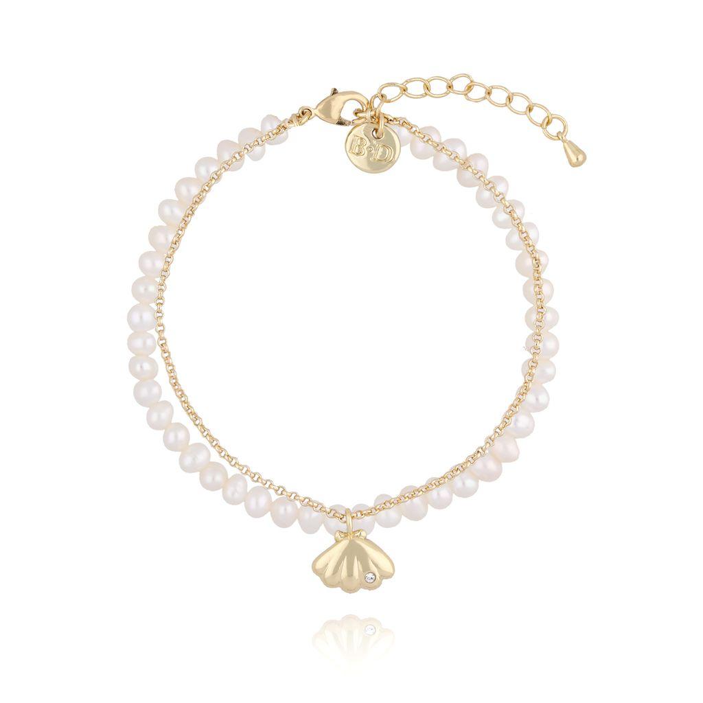 Bransoletka perłowa z muszlą i łańcuszkiem BLB0099