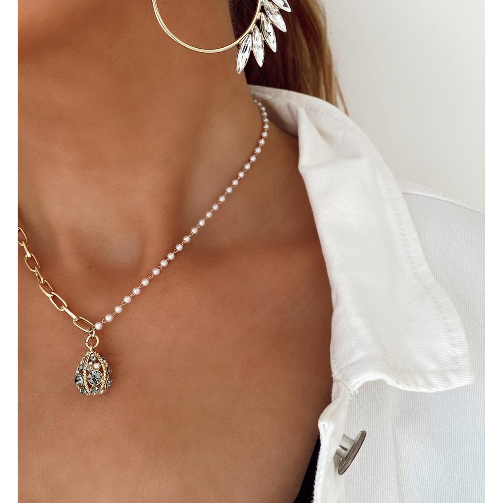 Naszyjnik z perełkami i łańcuchem NRG0128