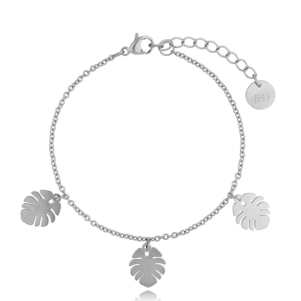 Bransoletka srebrna ze stali szlachetnej z liśćmi monstery BSA0133