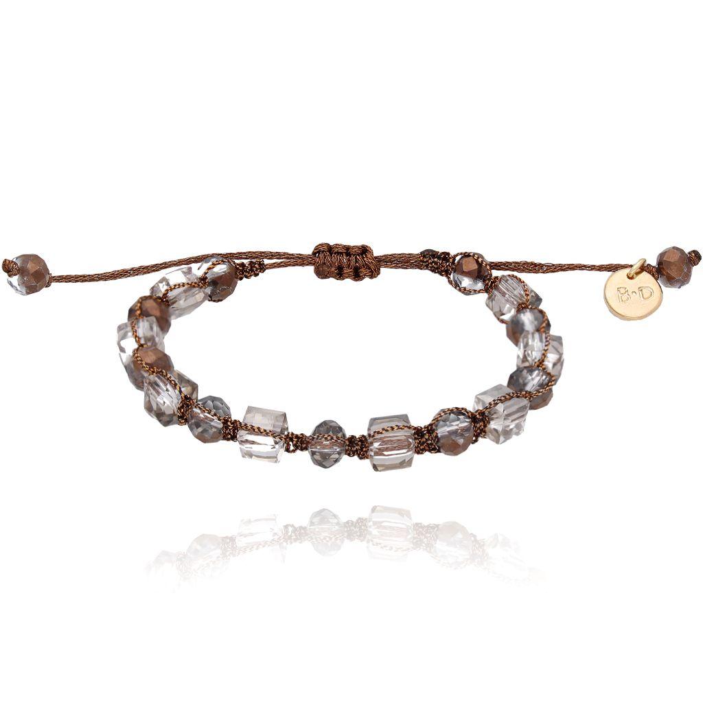 Bransoletka pleciona z brązowymi kryształkami BBL0116