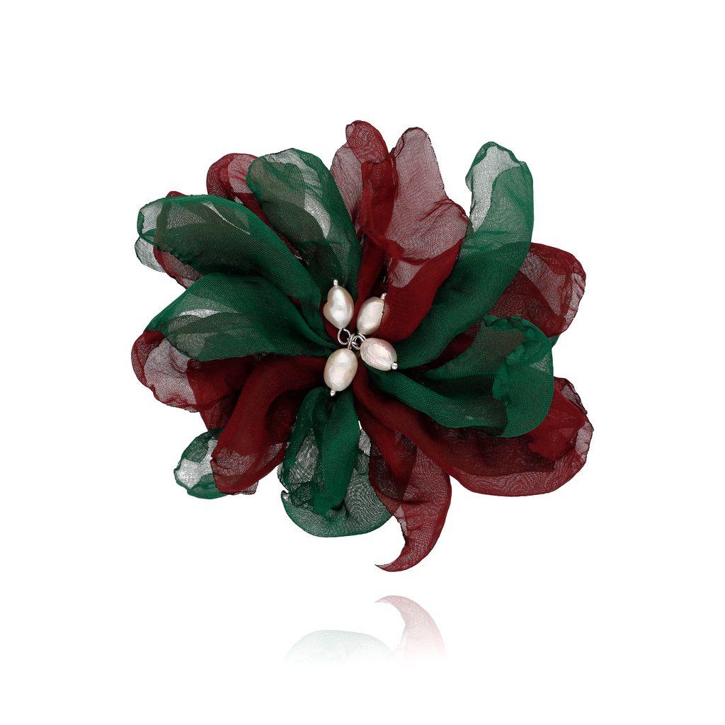 Broszka / spinka kwiat z perełkami bordowo zielona BRBL0023