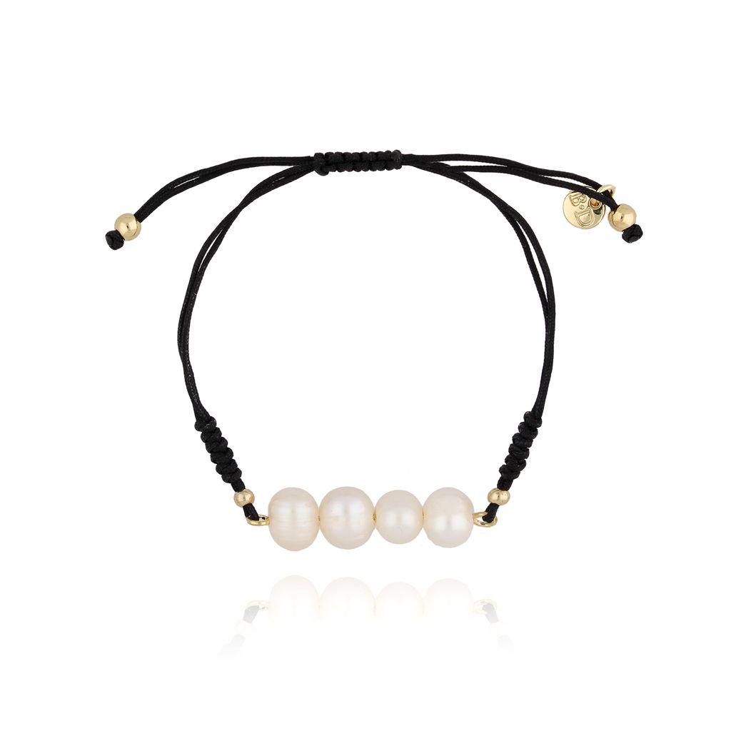 Bransoletka z czarnym sznurkiem i perłami BSC0786
