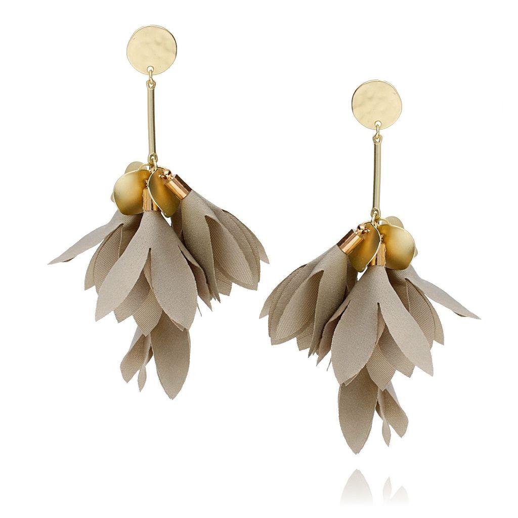 Kolczyki satynowe kwiaty szaro-beżowy Blossom KBL0228
