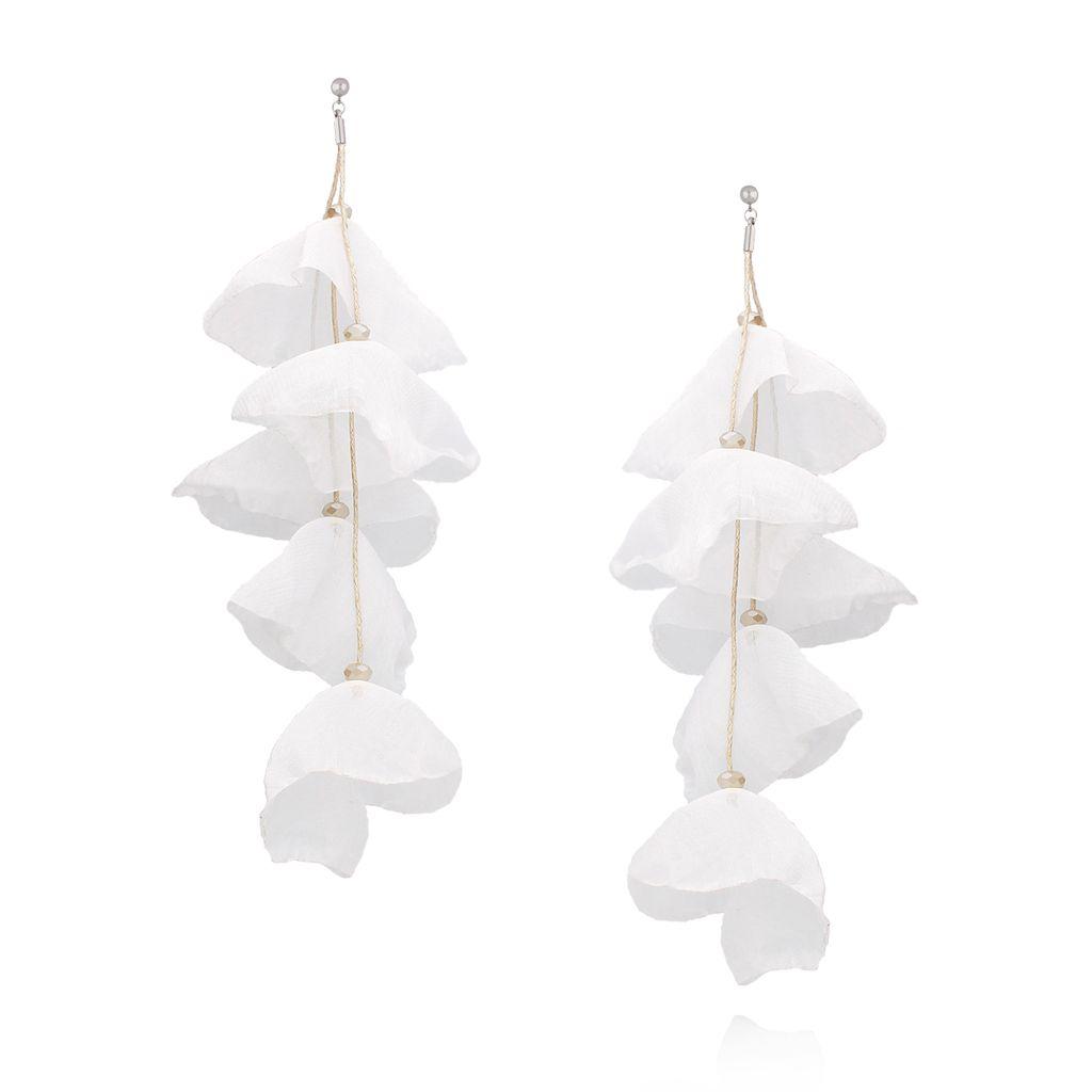 Kolczyki jedwabne kwiaty długie białe KBL0332