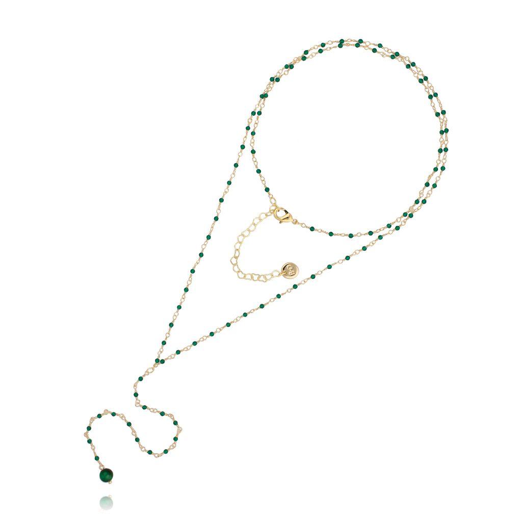 Naszyjnik różaniec z kryształkami i zielonym tygrysim okiem NOA0050