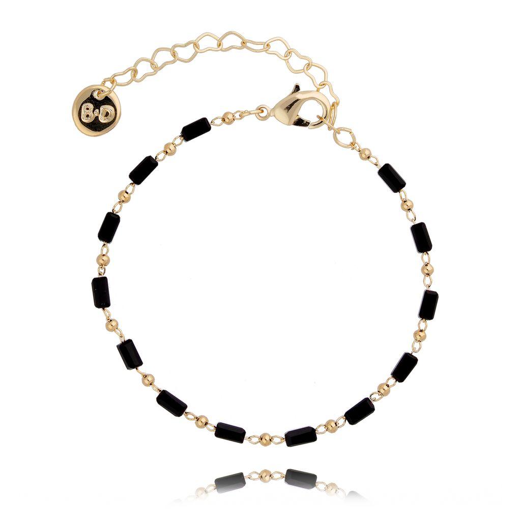 Bransoletka z czarnych kryształków BOA0002