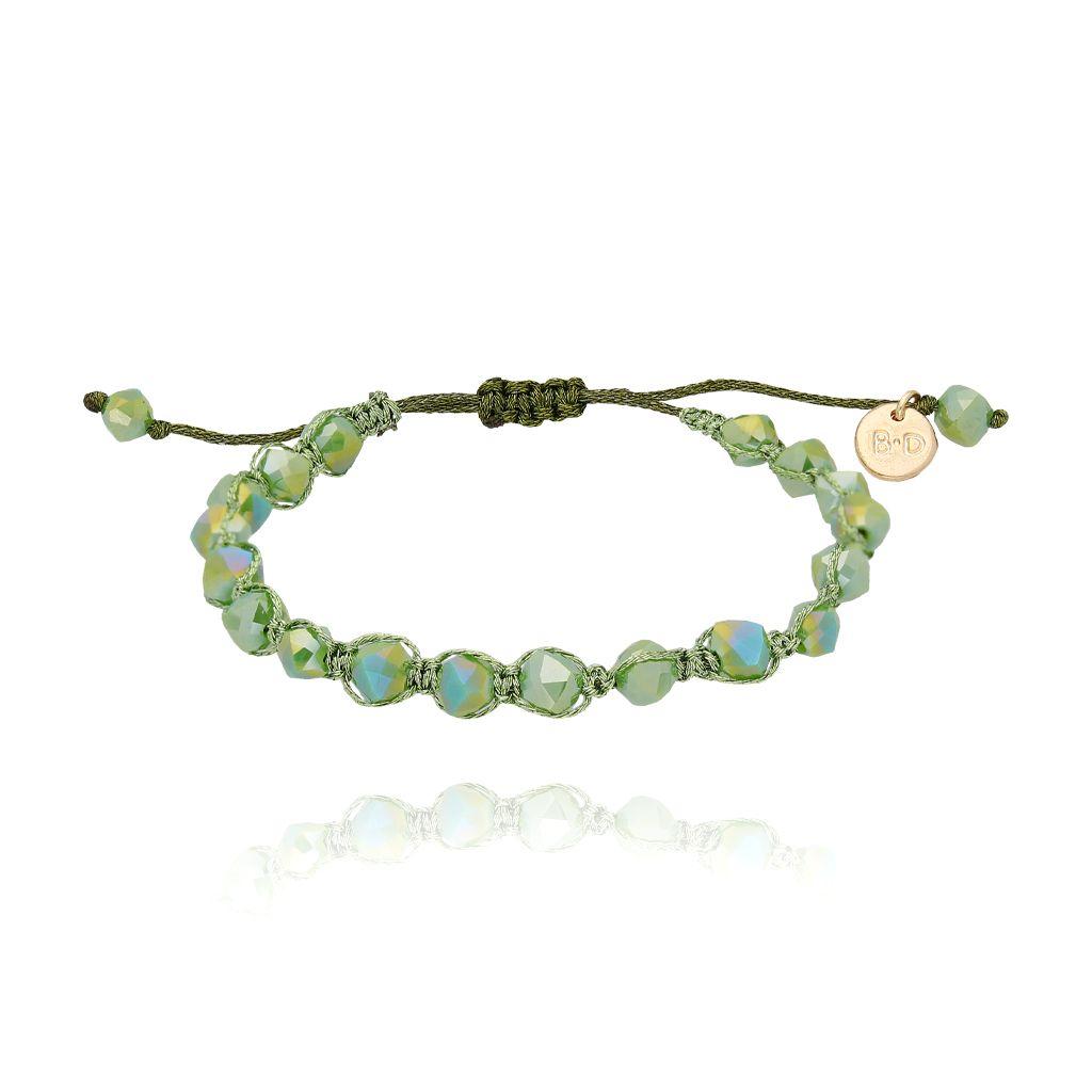 Bransoletka pleciona z zielonymi kryształkami BBL0115
