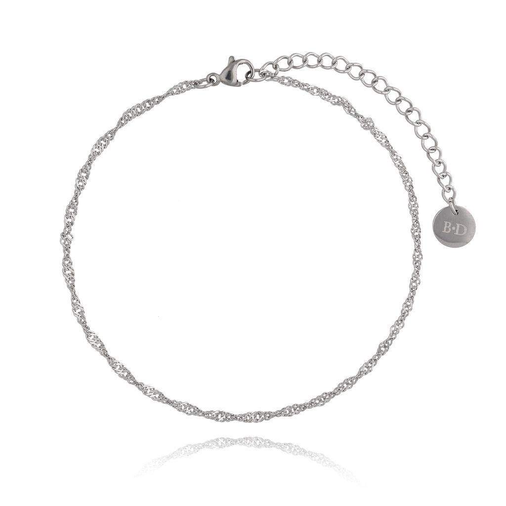 Bransoletka srebrna na nogę ze stali szlachetnej BNSA0005