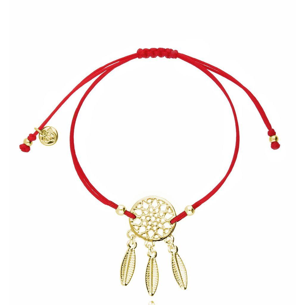 Bransoletka na sznurku czerwonym - złoty łapacz snów BGL0437