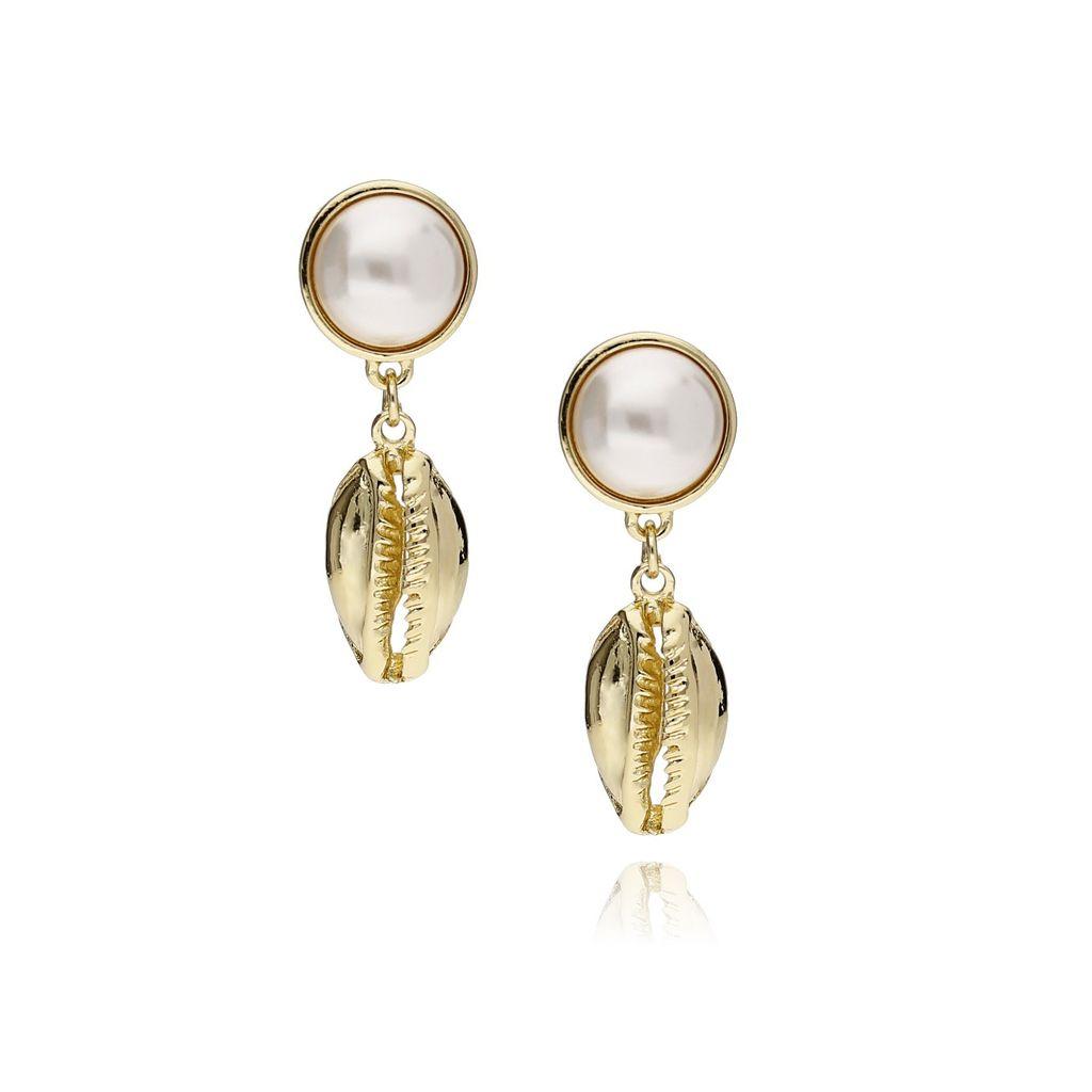 Kolczyki złote z muszelką i perłą KOV0027