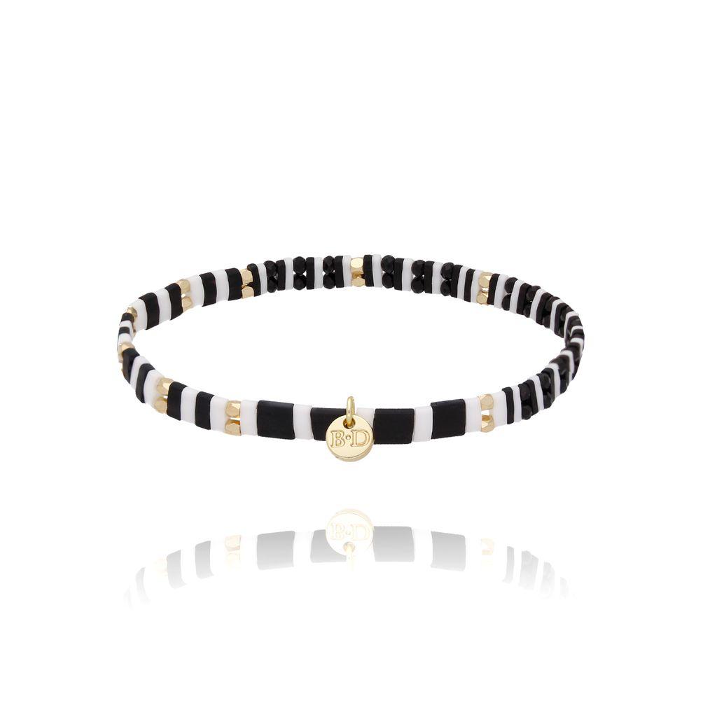 Bransoletka elastyczna czarno biała BLB0123