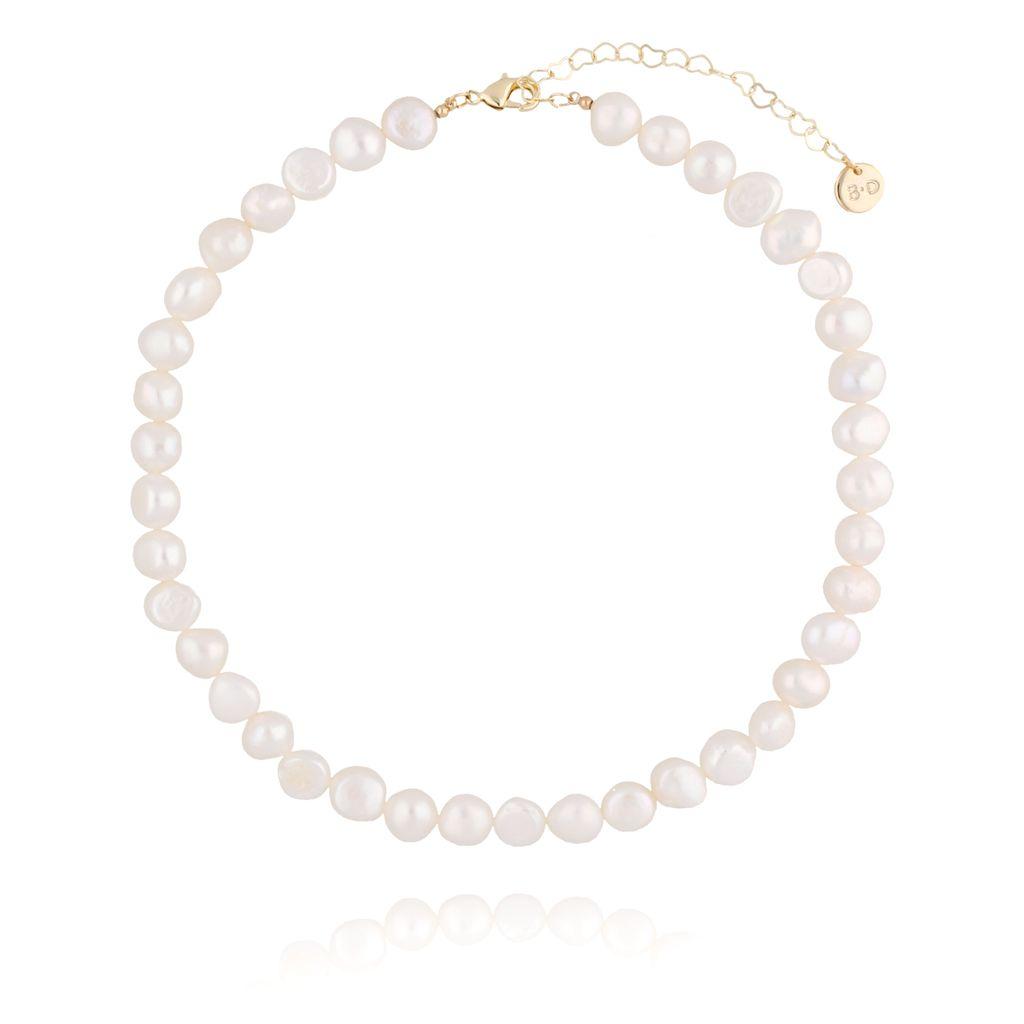 Choker z perłami ze złotym zapięciem NPE0019
