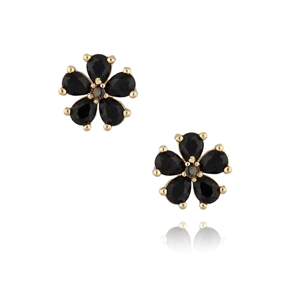 Kolczyki złote kwiatki z czarnymi cyrkoniami KMU0033
