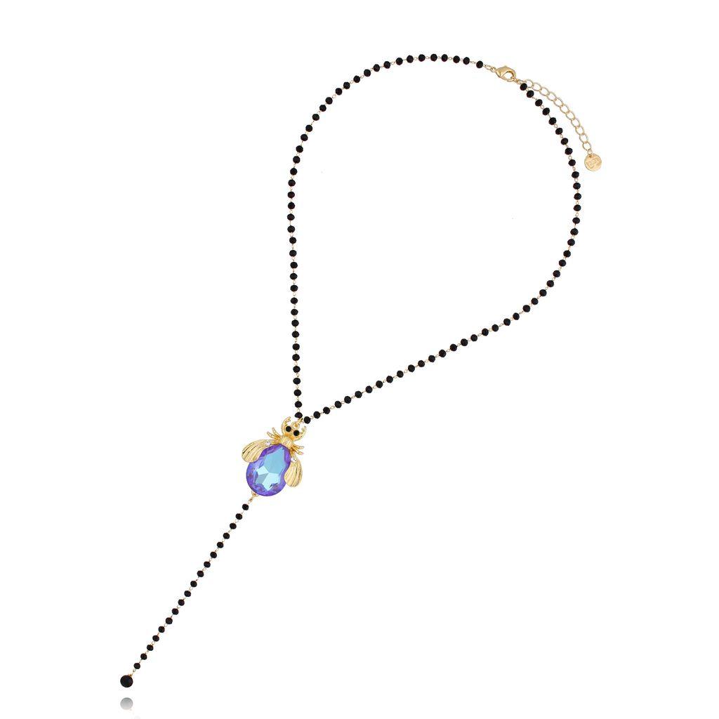 Naszyjnik  niebiesko fioletowy żuk NMI0064