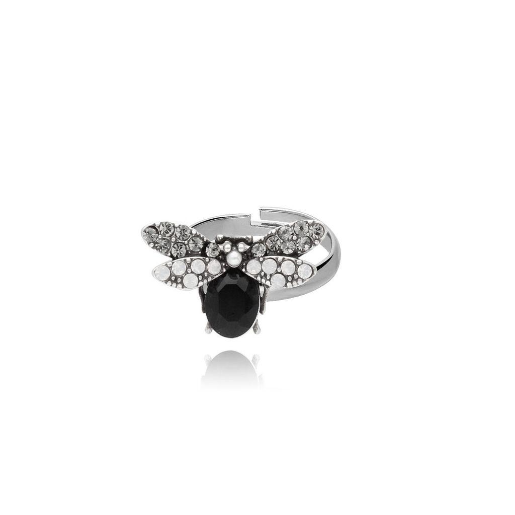 Pierścionek srebrny owad z kryształkiem i cyrkoniami PMI0051