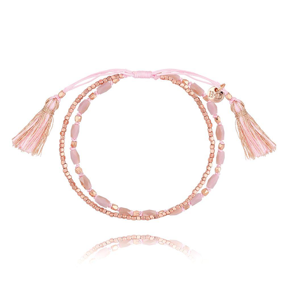 Bransoletka różowa z kryształkami BSC0848