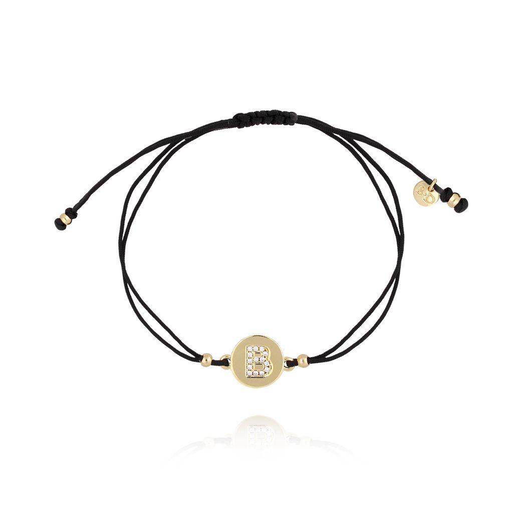 Bransoletka złota na sznurku z literką B BAT0010