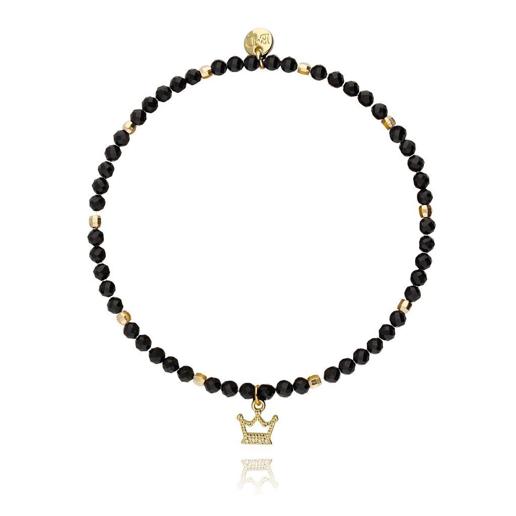 Bransoletka z czarnych onyksów ze złotą koroną BSC0682