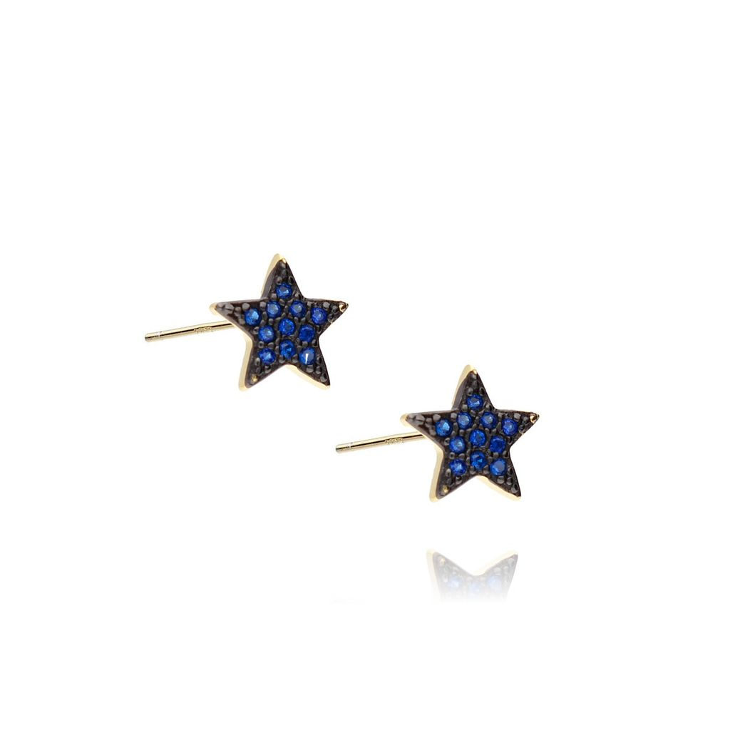 Kolczyki świąteczne srebrne pozłacane z cyrkoniami gwiazdki KBT0009