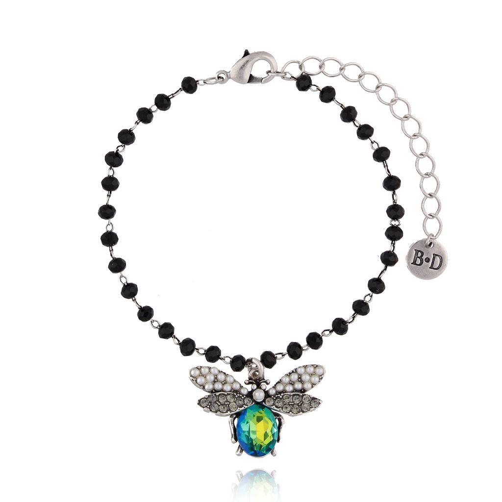 Bransoletka z niebiesko zielonym owadem z kryształkami BMI0040