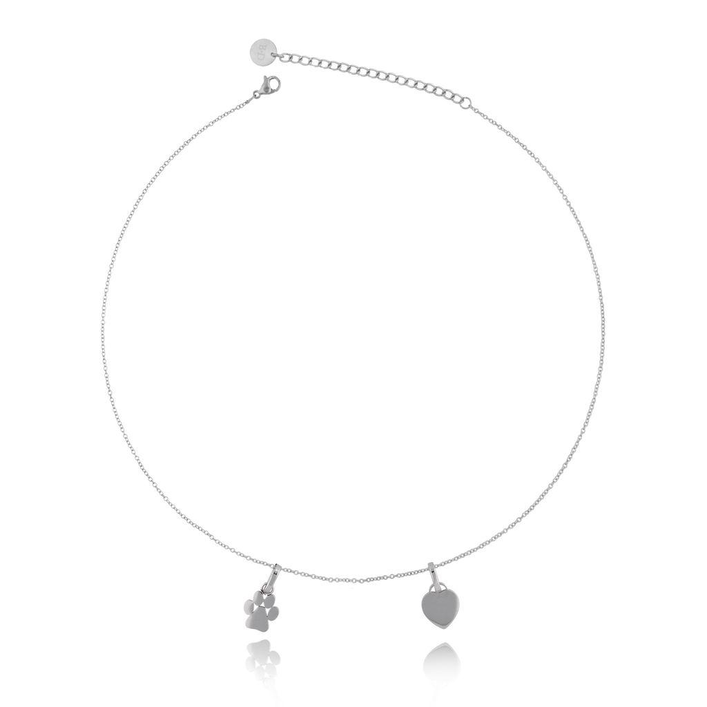 Naszyjnik srebrny z łapką i sercem ze stali szlachetnej NPS0005