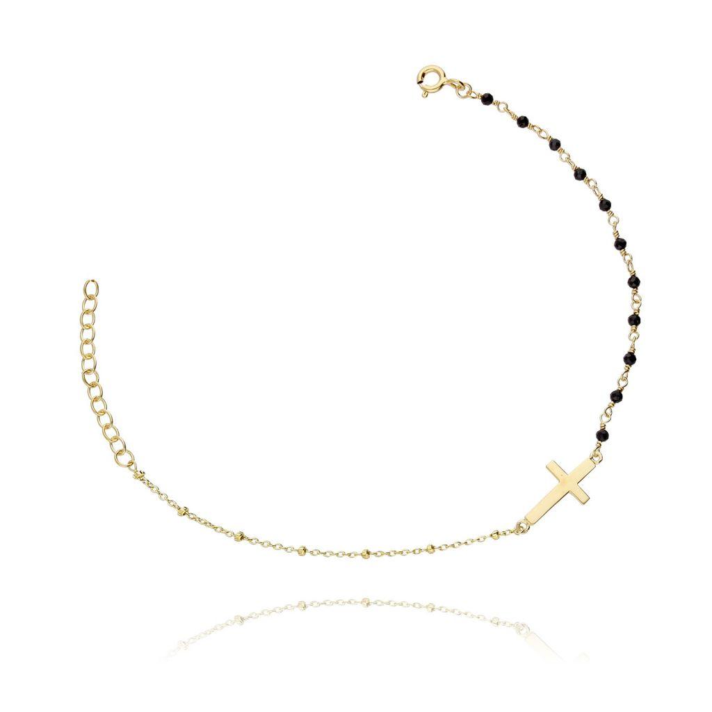Bransoletka srebrna krzyżyk z kryształkami pozłacana BSE0036