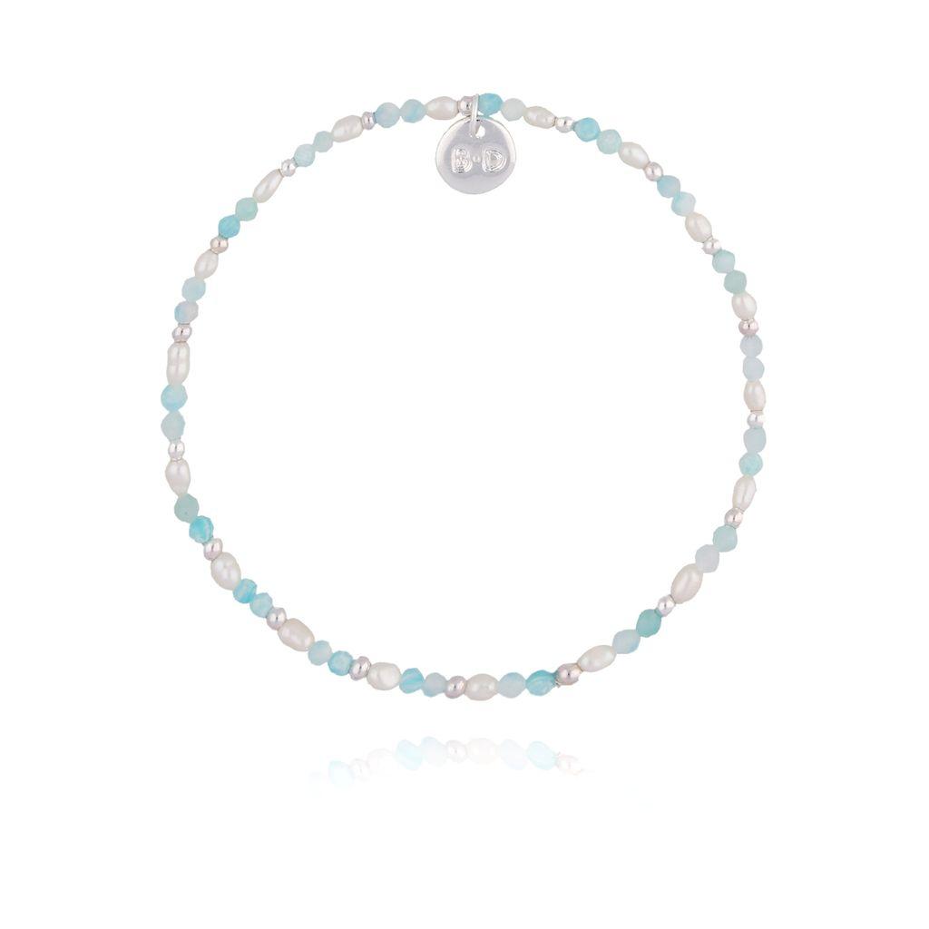 Bransoletka z perłami i akwamarynem BTW0216