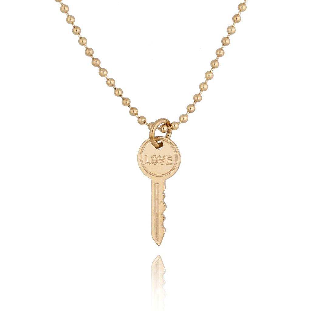 Naszyjnik złoty kluczyk ze stali szlachetnej NSA0129