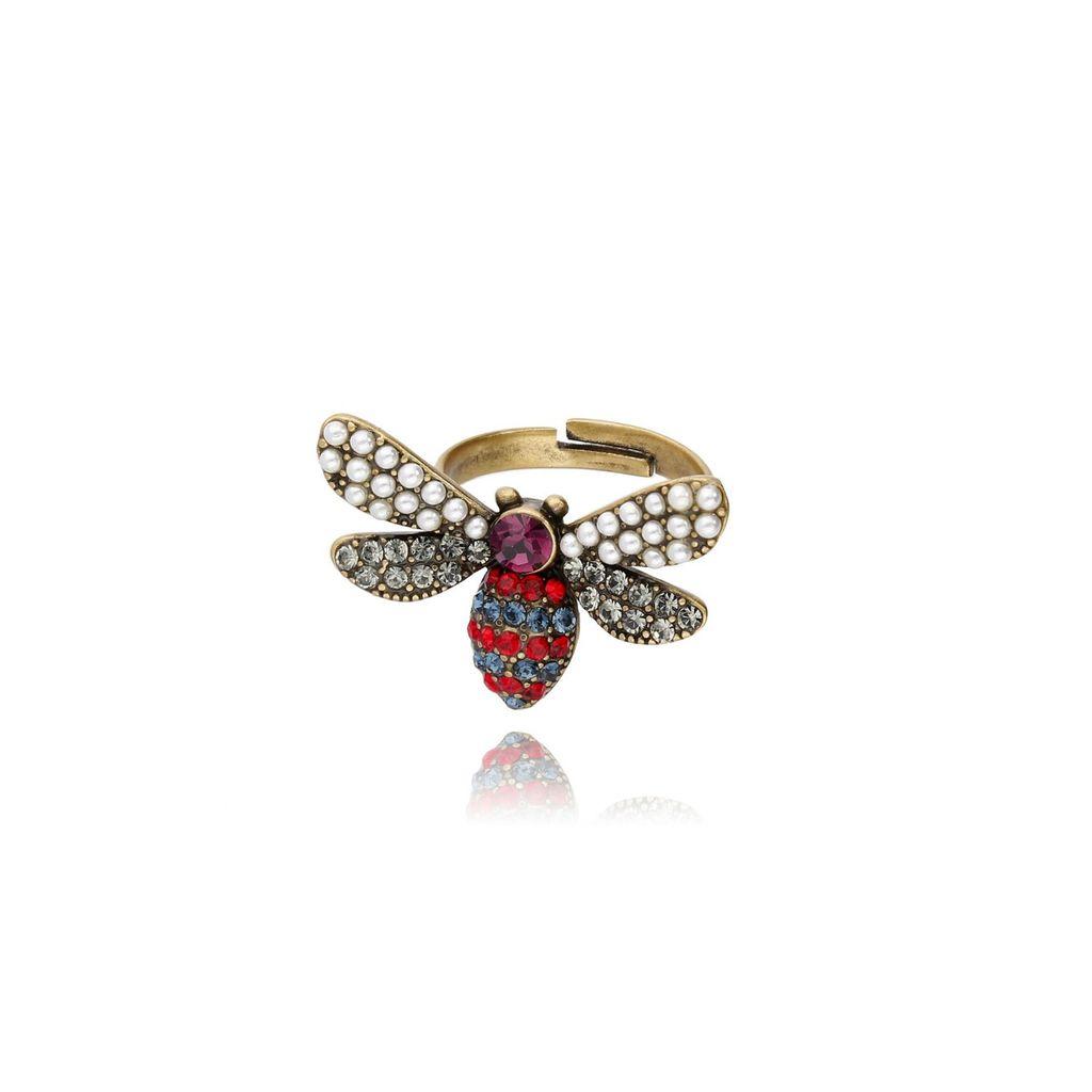 Pierścionek złoty owad z cyrkoniami i perełkami PMI0005