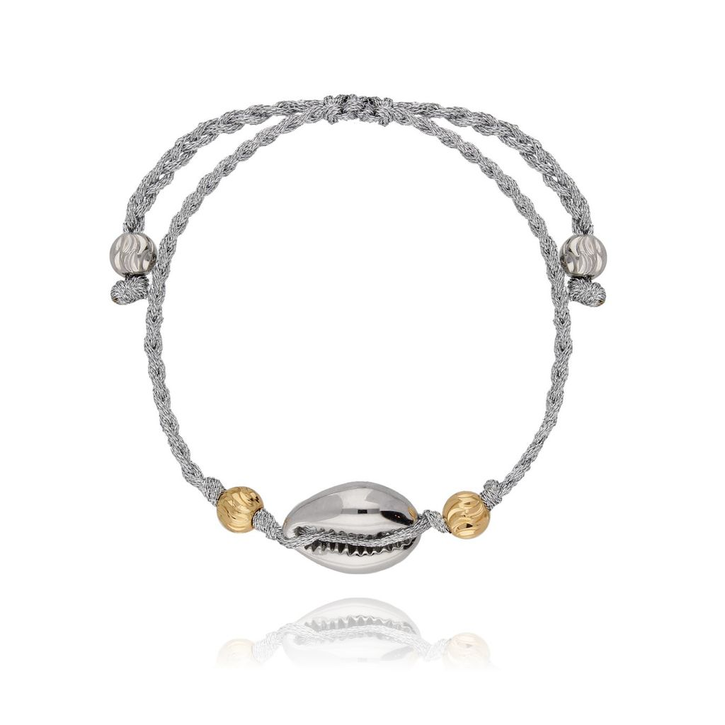 Bransoletka na sznurku z muszelką srebrna Ocean Vibes BOV0012
