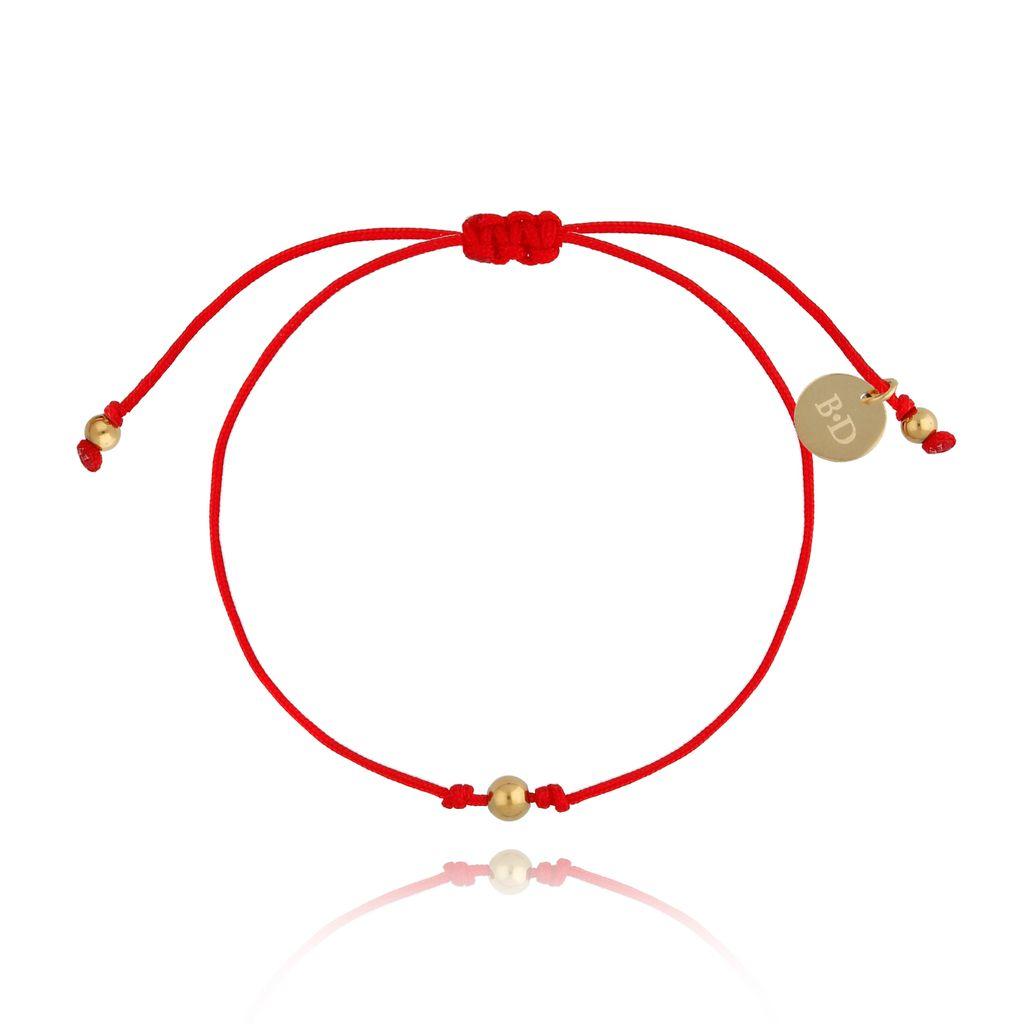 Bransoletka złota na szczęście czerwona BGL0464