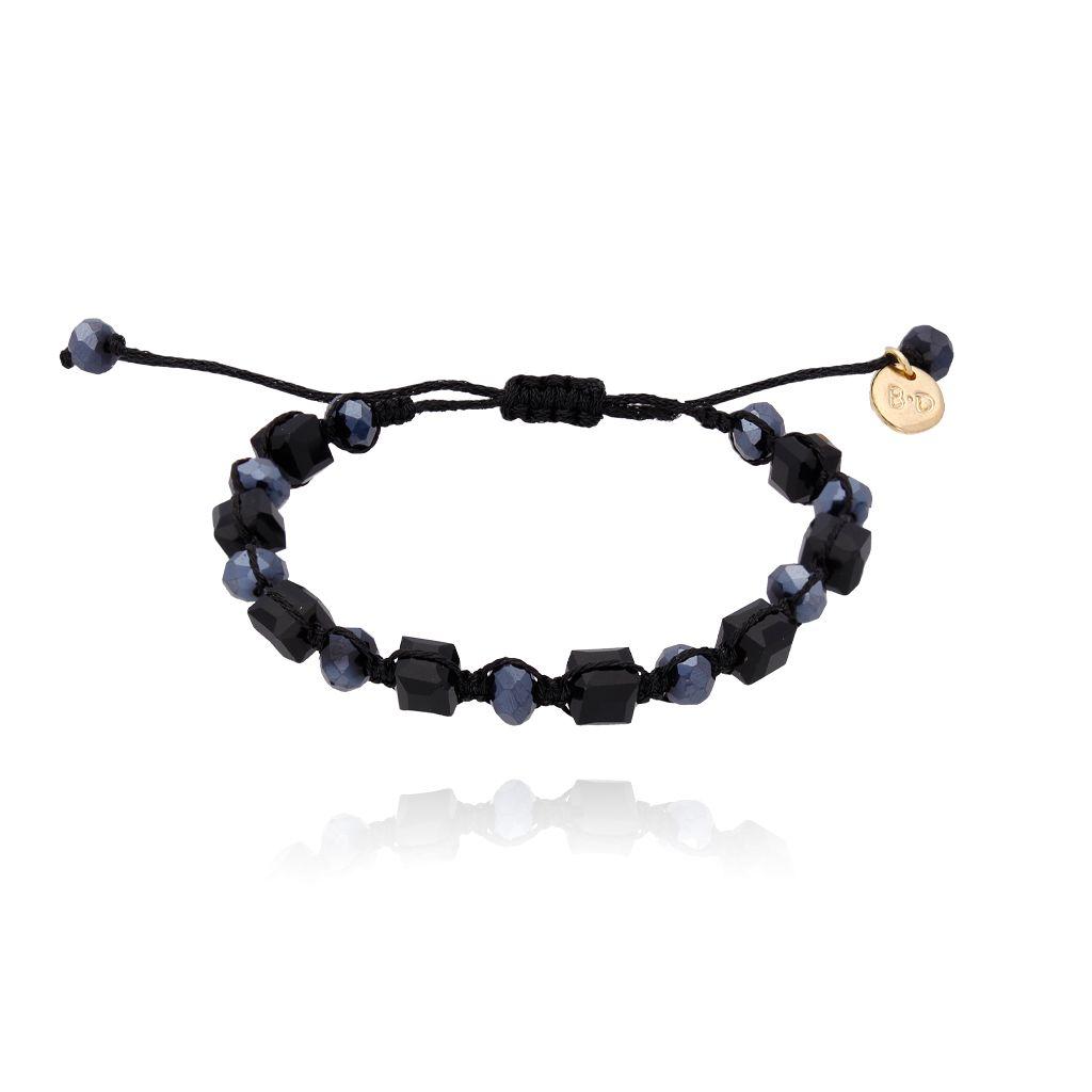 Bransoletka pleciona z czarnymi kryształkami BBL0118