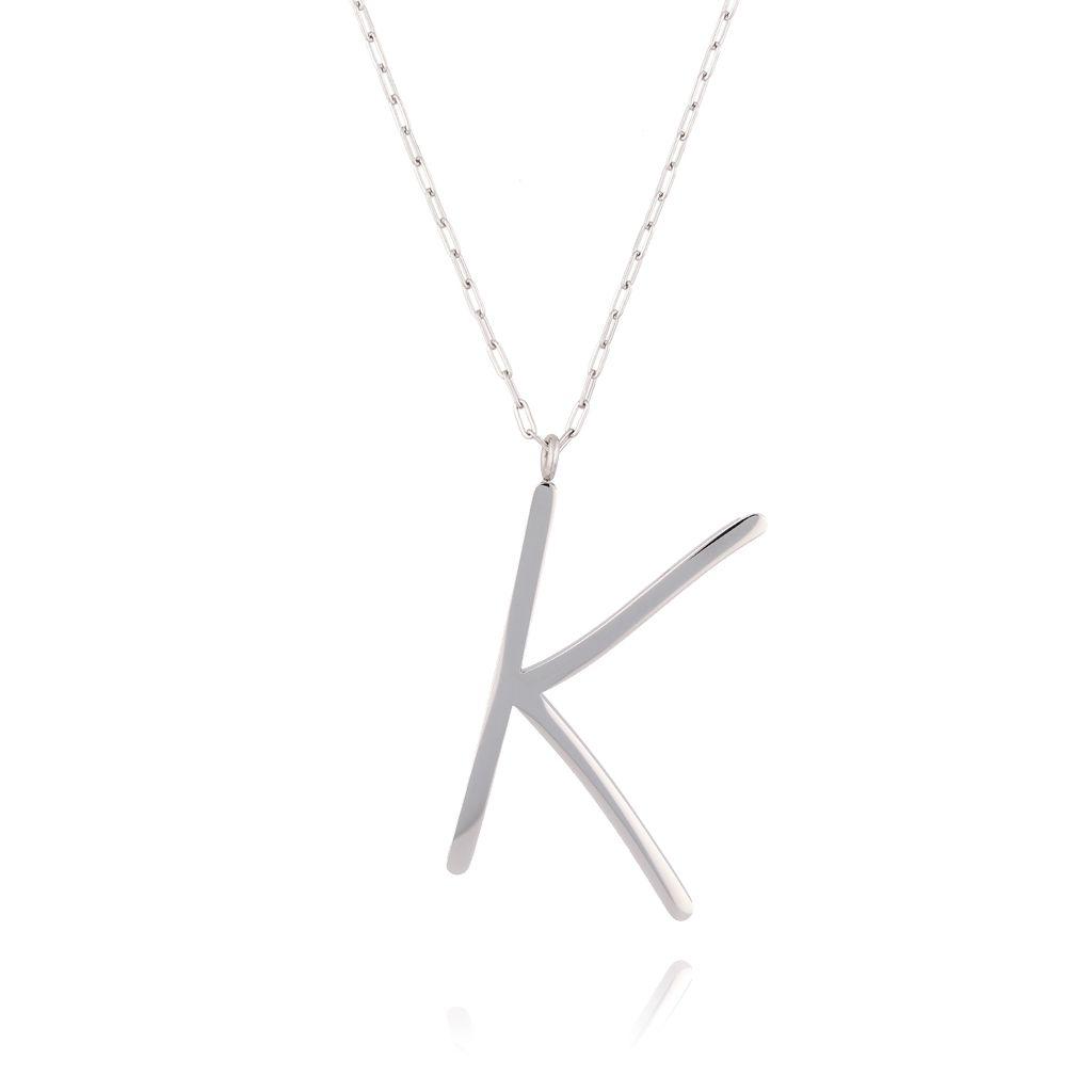Naszyjnik ze stali szlachetnej srebrny literka K Alphabet NAT0009
