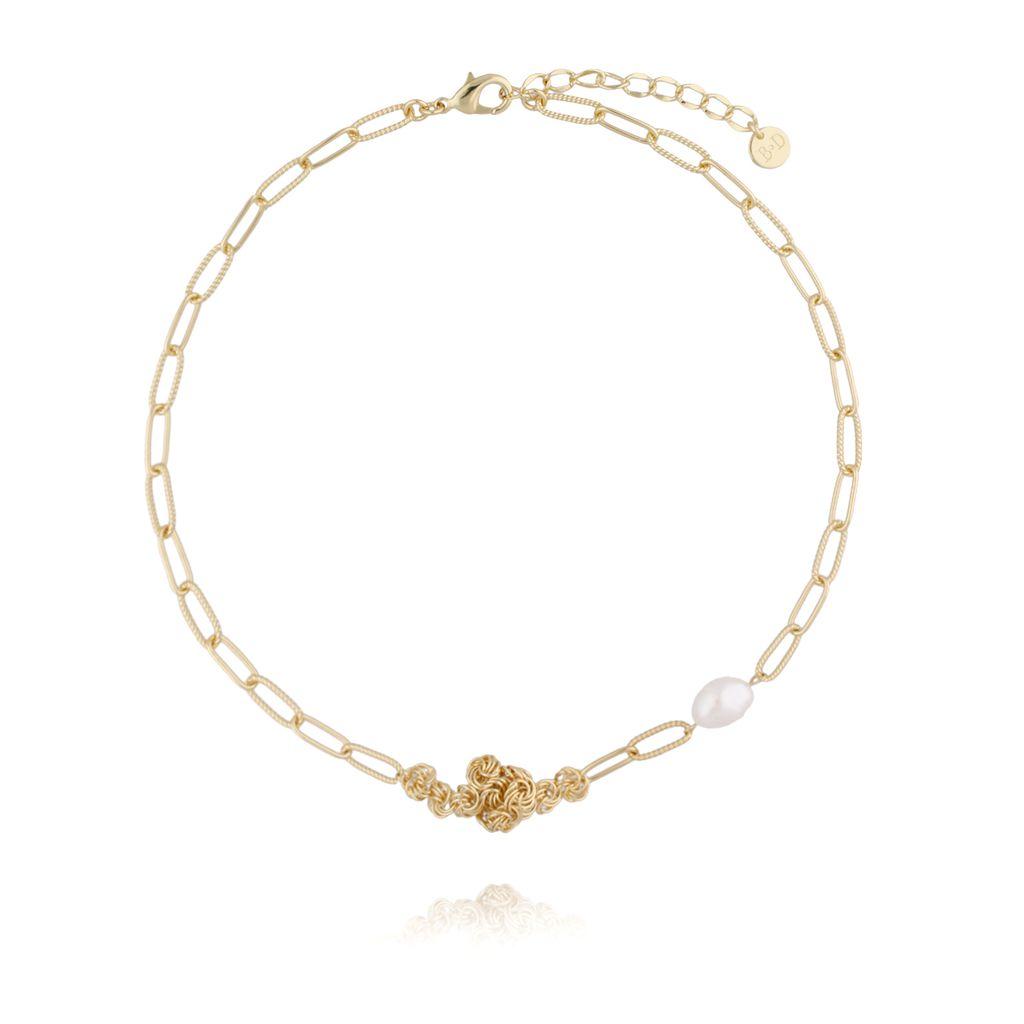 Naszyjnik z pereł z łańcuszkiem i perłą NPE0032