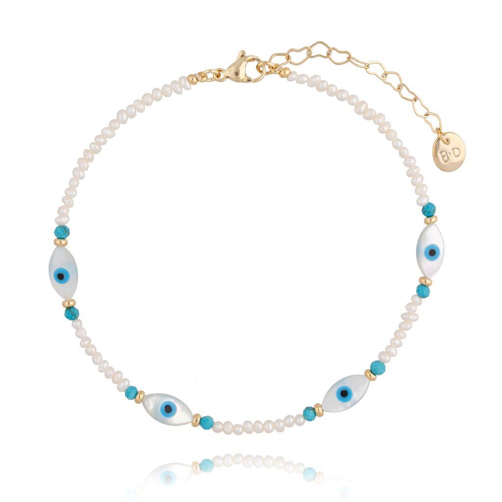 Bransoletka na nogę  z perłami  BNPA0003