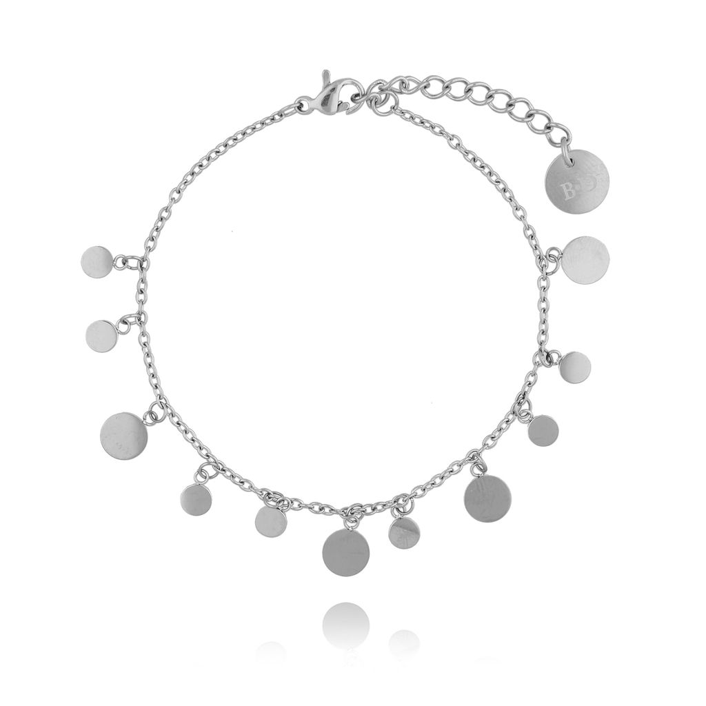 Bransoletka srebrna  z dyskami ze stali szlachetnej BSA0062