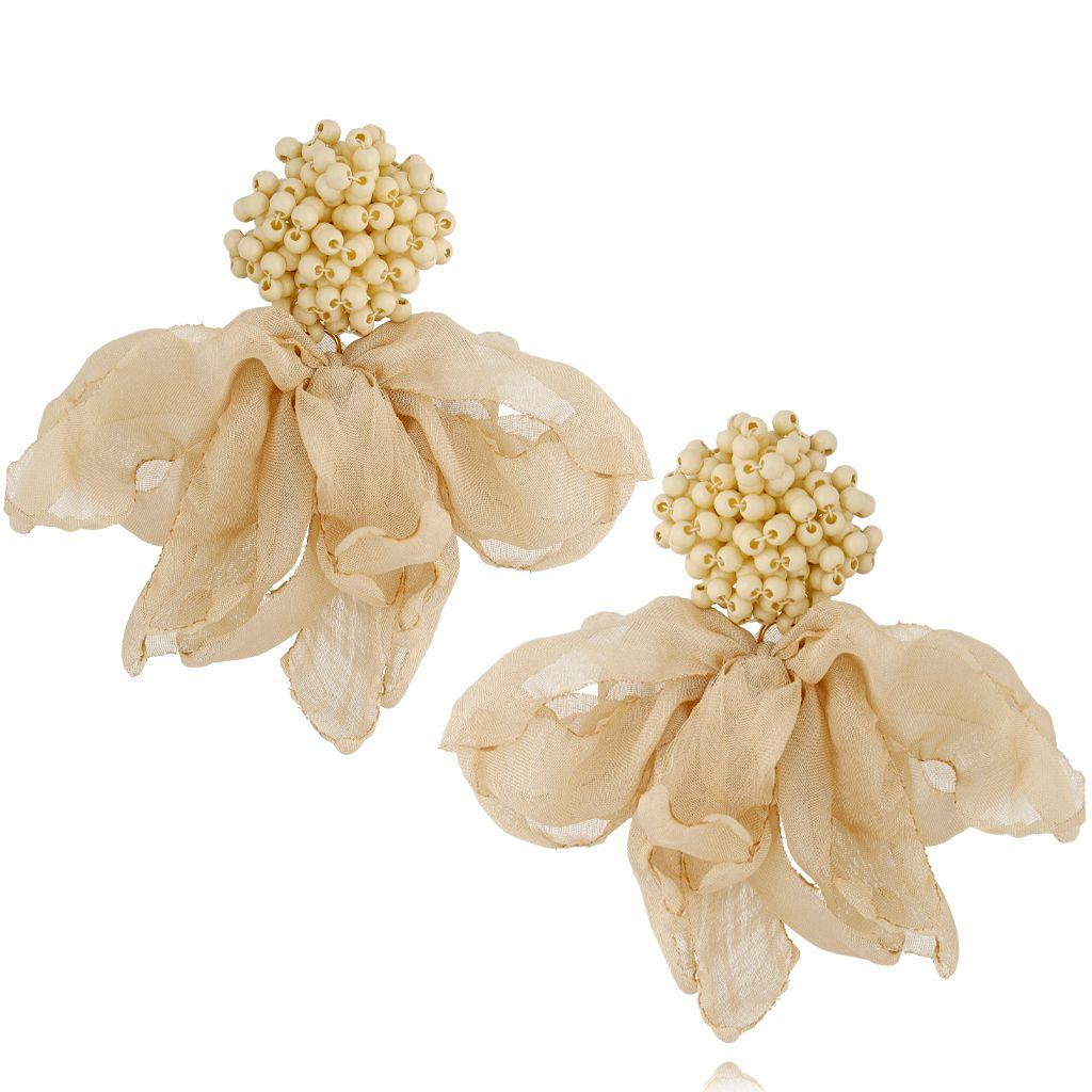 Kolczyki jedwabne kwiaty z koralikami beżowe KBL0580